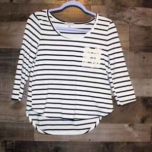 Charlotte Russe 3/4 Sleeve Striped Crop Top
